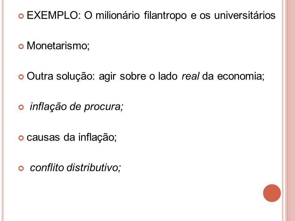 EXEMPLO: O milionário filantropo e os universitários Monetarismo; Outra solução: agir sobre o lado real da economia; inflação de procura; causas da inflação; conflito distributivo;