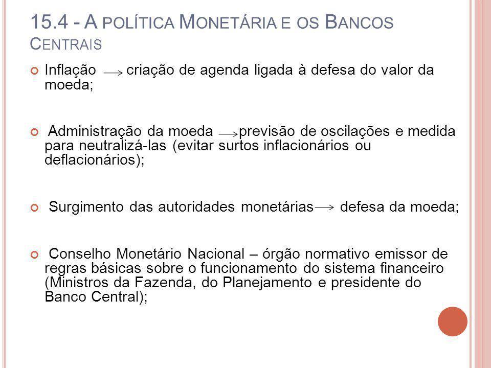15.4 - A POLÍTICA M ONETÁRIA E OS B ANCOS C ENTRAIS Inflação criação de agenda ligada à defesa do valor da moeda; Administração da moeda previsão de o