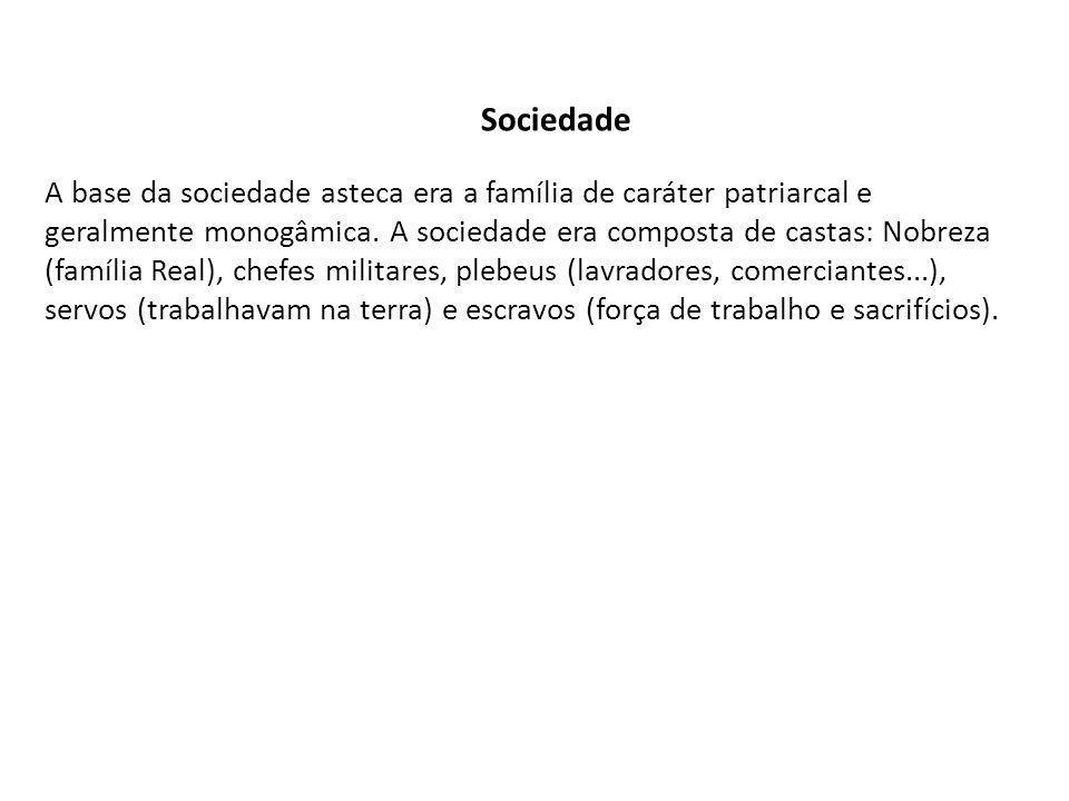Sociedade A base da sociedade asteca era a família de caráter patriarcal e geralmente monogâmica.