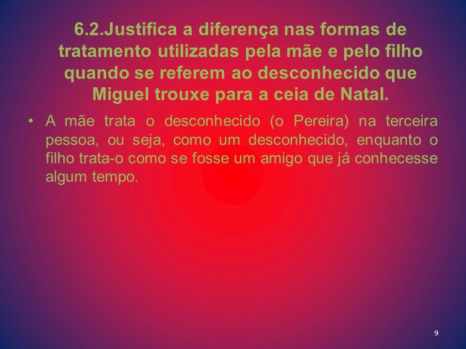 6.2.Justifica a diferença nas formas de tratamento utilizadas pela mãe e pelo filho quando se referem ao desconhecido que Miguel trouxe para a ceia de