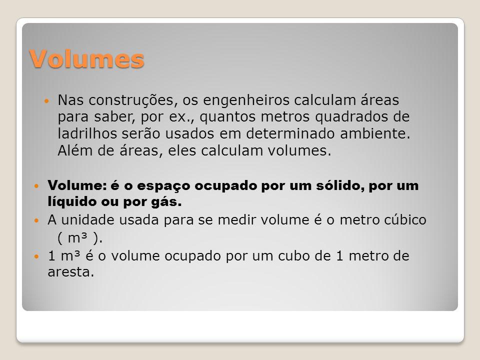 Volumes Nas construções, os engenheiros calculam áreas para saber, por ex., quantos metros quadrados de ladrilhos serão usados em determinado ambiente