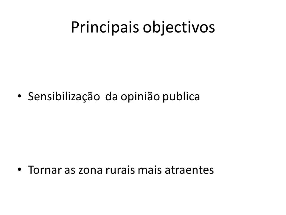 Principais objectivos Sensibilização da opinião publica Tornar as zona rurais mais atraentes