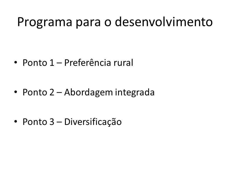 Programa para o desenvolvimento Ponto 1 – Preferência rural Ponto 2 – Abordagem integrada Ponto 3 – Diversificação