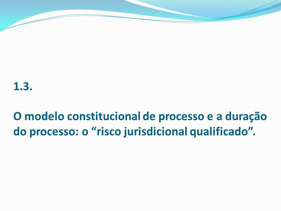 1.3. O modelo constitucional de processo e a duração do processo: o risco jurisdicional qualificado.
