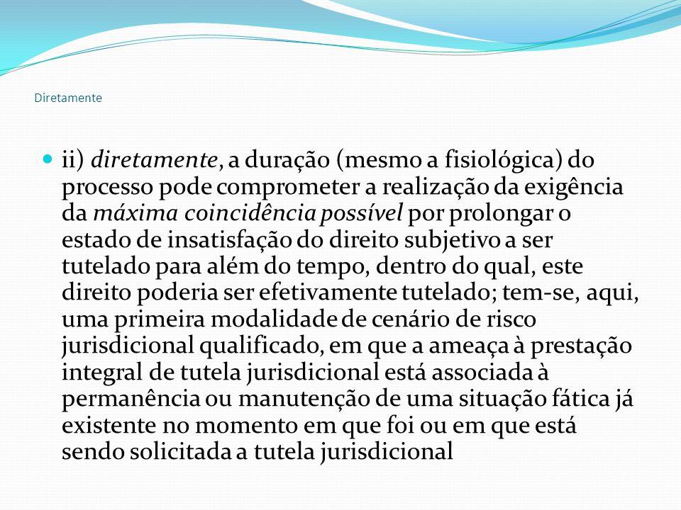 Diretamente ii) diretamente, a duração (mesmo a fisiológica) do processo pode comprometer a realização da exigência da máxima coincidência possível por prolongar o estado de insatisfação do direito subjetivo a ser tutelado para além do tempo, dentro do qual, este direito poderia ser efetivamente tutelado; tem-se, aqui, uma primeira modalidade de cenário de risco jurisdicional qualificado, em que a ameaça à prestação integral de tutela jurisdicional está associada à permanência ou manutenção de uma situação fática já existente no momento em que foi ou em que está sendo solicitada a tutela jurisdicional
