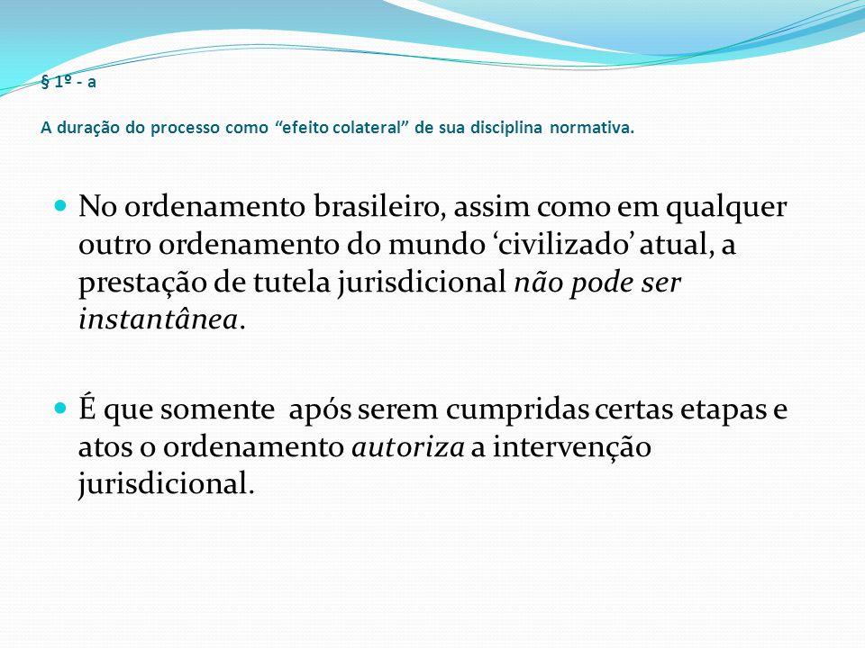 § 1º - b contraditório e duração processual Isso decorre, em primeiro lugar, da própria exigência do contraditório, ele também um dos valores constitucionais do processo (CF, art.