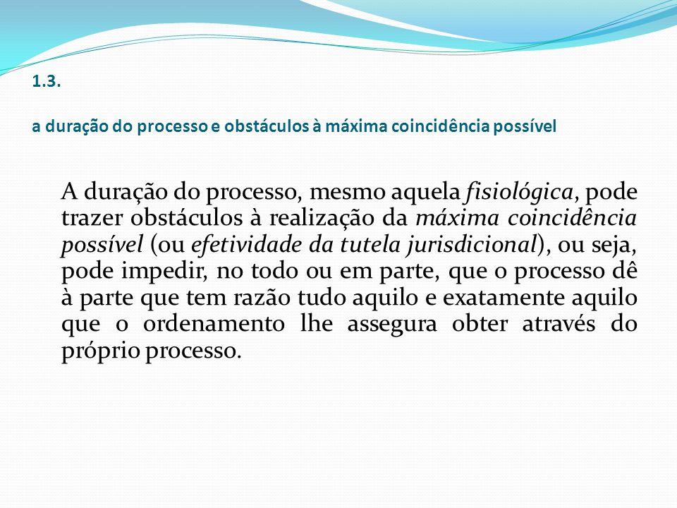 1.3. a duração do processo e obstáculos à máxima coincidência possível A duração do processo, mesmo aquela fisiológica, pode trazer obstáculos à reali