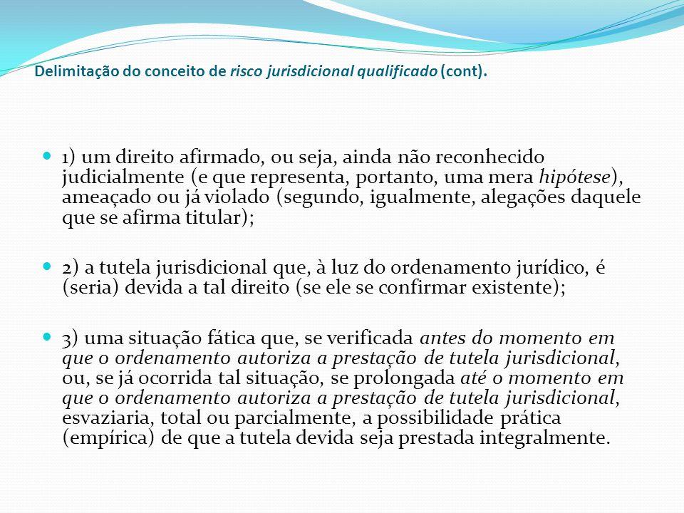 Atenção: A situação fática referida sub (3) é caracterizada pela circunstância de a tutela jurisdicional não poder ser prestada antes de determinado momento, em respeito aos valores processuais acolhidos pelo ordenamento, nos termos vistos.