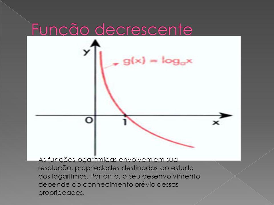 As funções logarítmicas envolvem em sua resolução, propriedades destinadas ao estudo dos logaritmos. Portanto, o seu desenvolvimento depende do conhec