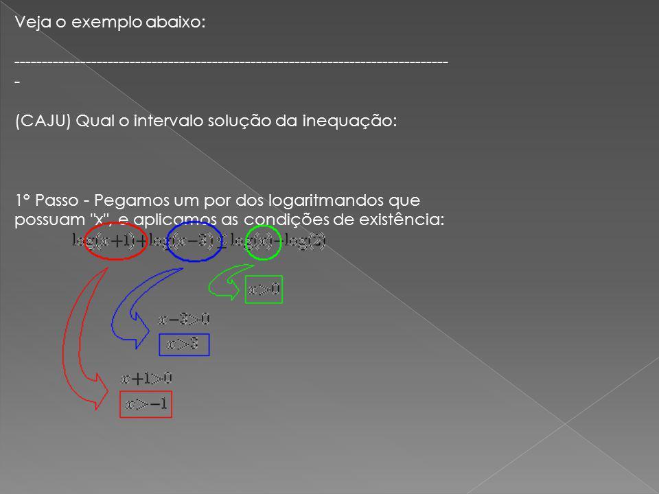 Veja o exemplo abaixo: ------------------------------------------------------------------------------- - (CAJU) Qual o intervalo solução da inequação: