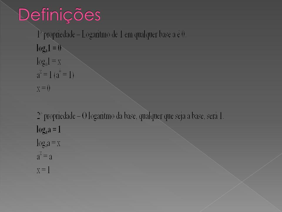 Exemplo 1 log x–16 = 1 Restrição: x – 1 > 0 x > 1 x – 1 1 x 1 + 1 x 2 Resolução: log x – 1 6 = 1 (x – 1)¹ = 6 x – 1 = 6 x = 6 + 1 x = 7 Temos que x = 7, satisfazendo a condição de existência determinada pela restrição.