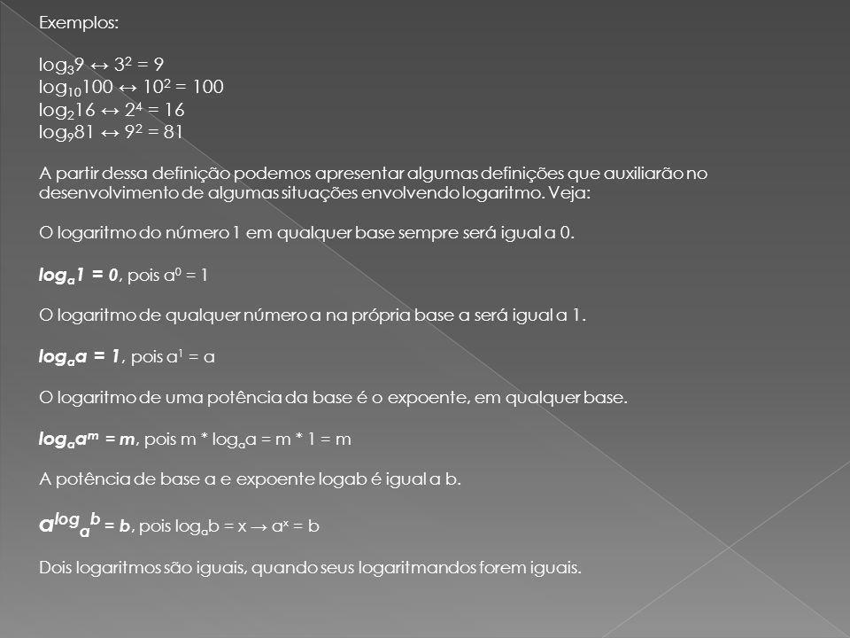 Exemplos Aplicar a definição de logaritmo para calcular o valor de x em cada caso: a) log 3 27 = x 3 x = 27 x = 3 b) log 81 x = 3/4 x = 81 3/4 x = (3 4 ) 3/4 x = 3 12/4 x = 3 3 x = 27 c) log 4 2 = x 4 x = 2 2 2x = 2 2 2x = 2 1/2 2x = 1/2 x = 1/4