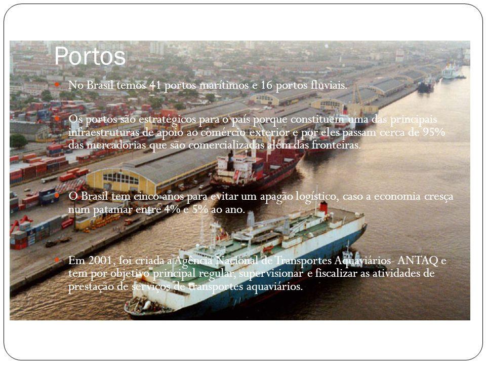 Portos No Brasil temos 41 portos marítimos e 16 portos fluviais.