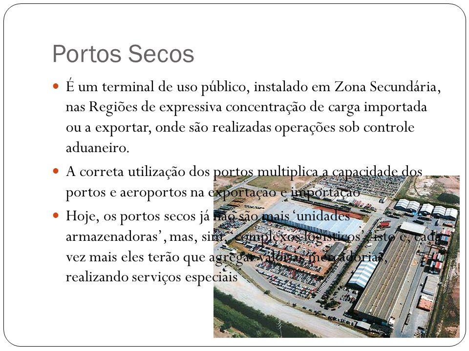Portos Secos É um terminal de uso público, instalado em Zona Secundária, nas Regiões de expressiva concentração de carga importada ou a exportar, onde são realizadas operações sob controle aduaneiro.