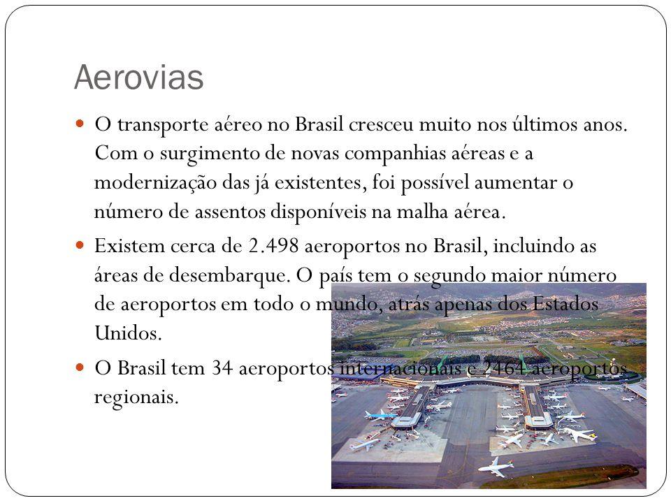 Aerovias O transporte aéreo no Brasil cresceu muito nos últimos anos.