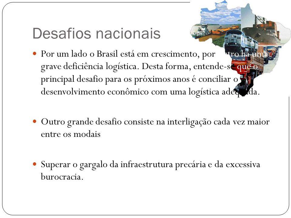 Desafios nacionais Por um lado o Brasil está em crescimento, por outro há uma grave deficiência logística.