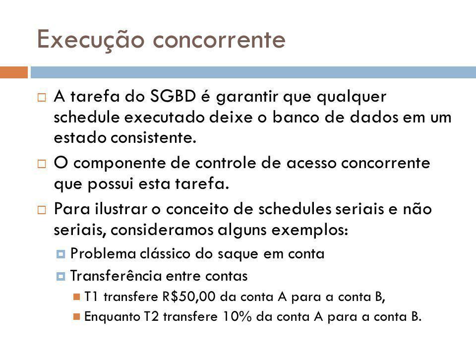 Execução concorrente A tarefa do SGBD é garantir que qualquer schedule executado deixe o banco de dados em um estado consistente. O componente de cont