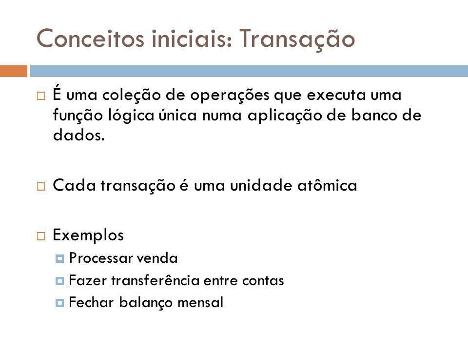 Conceitos iniciais: Transação É uma coleção de operações que executa uma função lógica única numa aplicação de banco de dados. Cada transação é uma un
