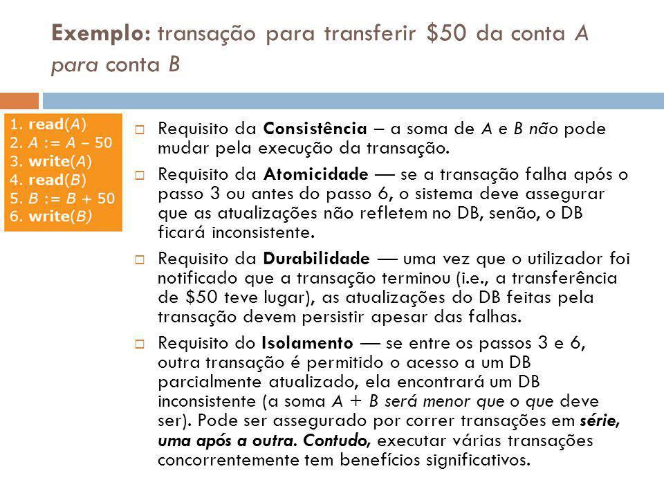 Exemplo: transação para transferir $50 da conta A para conta B Requisito da Consistência – a soma de A e B não pode mudar pela execução da transação.