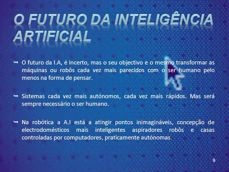 O futuro da I.A, é incerto, mas o seu objectivo e o mesmo transformar as máquinas ou robôs cada vez mais parecidos com o ser humano pelo menos na forma de pensar.