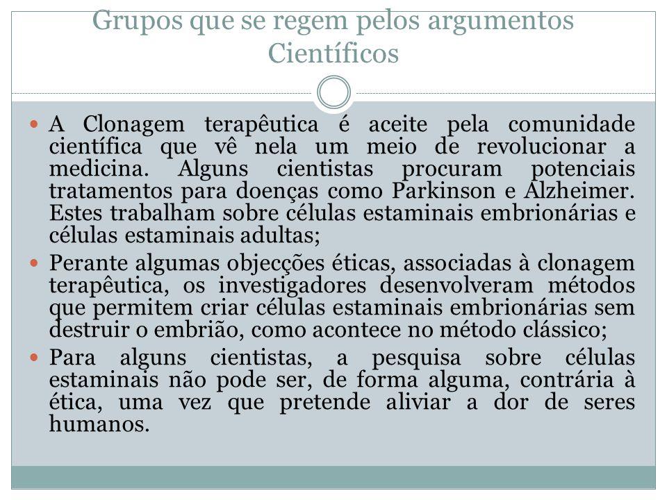 Grupos que se regem pelos argumentos Científicos A Clonagem terapêutica é aceite pela comunidade científica que vê nela um meio de revolucionar a medi