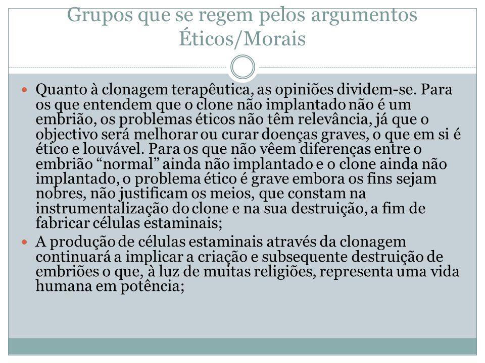 Grupos que se regem pelos argumentos Éticos/Morais Quanto à clonagem terapêutica, as opiniões dividem-se.