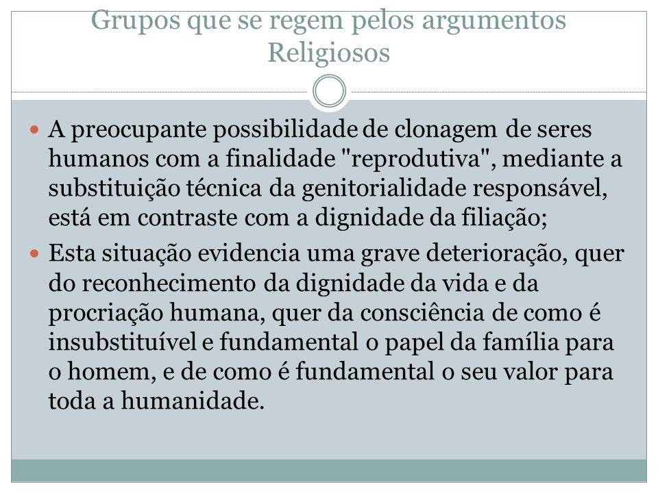 Grupos que se regem pelos argumentos Religiosos A preocupante possibilidade de clonagem de seres humanos com a finalidade