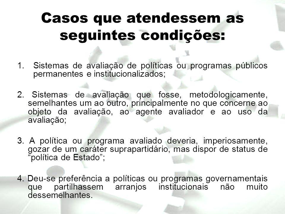 Casos que atendessem as seguintes condições: 1.Sistemas de avaliação de políticas ou programas públicos permanentes e institucionalizados; 2. Sistemas