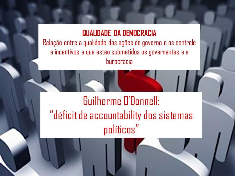 QUALIDADE DA DEMOCRACIA Relação entre a qualidade das ações do governo e os controle e incentivos a que estão submetidos os governantes e a burocracia Guilherme ODonnell: déficit de accountability dos sistemas políticos