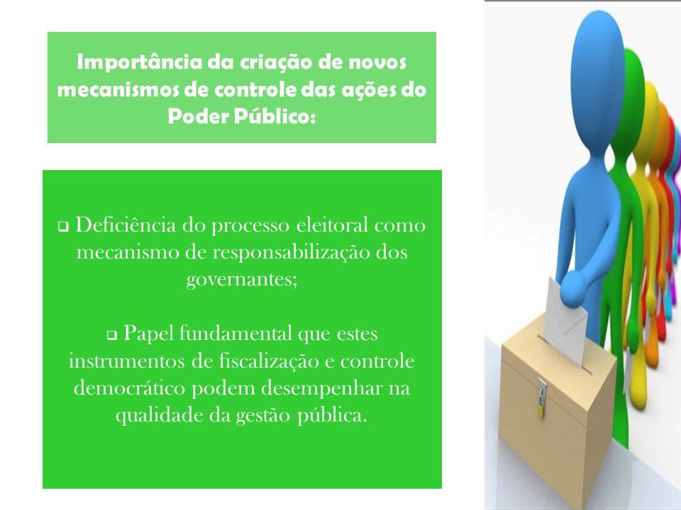 Importância da criação de novos mecanismos de controle das ações do Poder Público: Deficiência do processo eleitoral como mecanismo de responsabilizaç