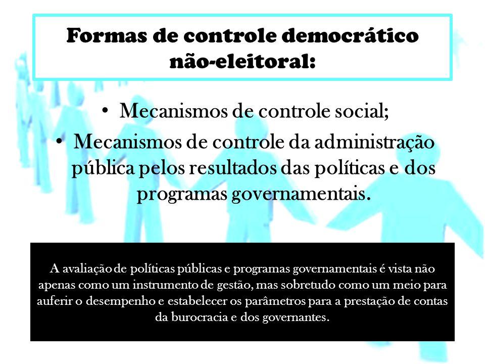 Formas de controle democrático não-eleitoral: Mecanismos de controle social; Mecanismos de controle da administração pública pelos resultados das políticas e dos programas governamentais.