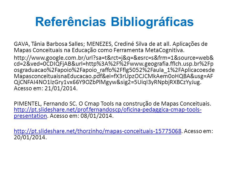 Referências Bibliográficas GAVA, Tânia Barbosa Salles; MENEZES, Crediné Silva de at all.
