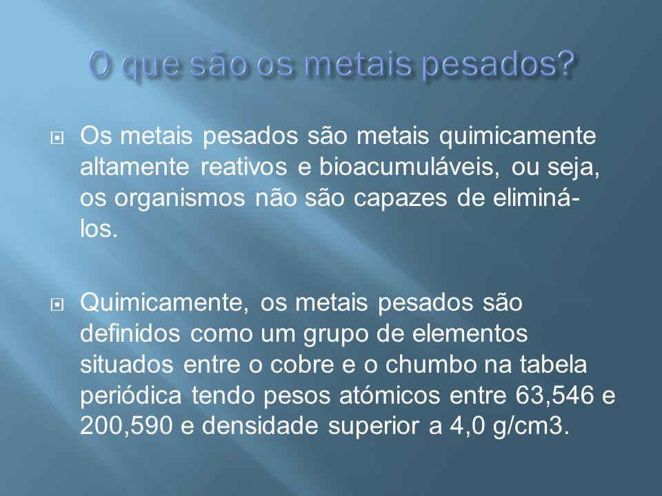 Os metais pesados são metais quimicamente altamente reativos e bioacumuláveis, ou seja, os organismos não são capazes de eliminá- los. Quimicamente, o