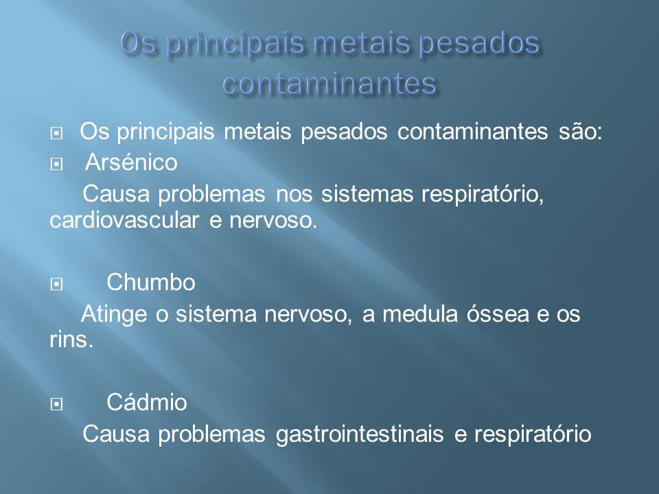 Os principais metais pesados contaminantes são: Arsénico Causa problemas nos sistemas respiratório, cardiovascular e nervoso. Chumbo Atinge o sistema