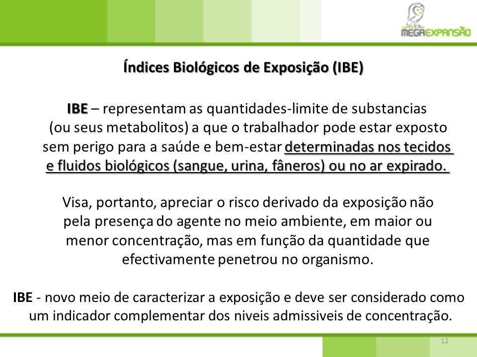 12 Índices Biológicos de Exposição (IBE) Visa, portanto, apreciar o risco derivado da exposição não pela presença do agente no meio ambiente, em maior ou menor concentração, mas em função da quantidade que efectivamente penetrou no organismo.