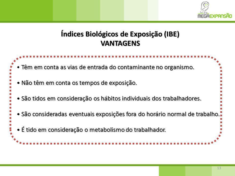 13 Índices Biológicos de Exposição (IBE) VANTAGENS Têm em conta as vias de entrada do contaminante no organismo. Não têm em conta os tempos de exposiç