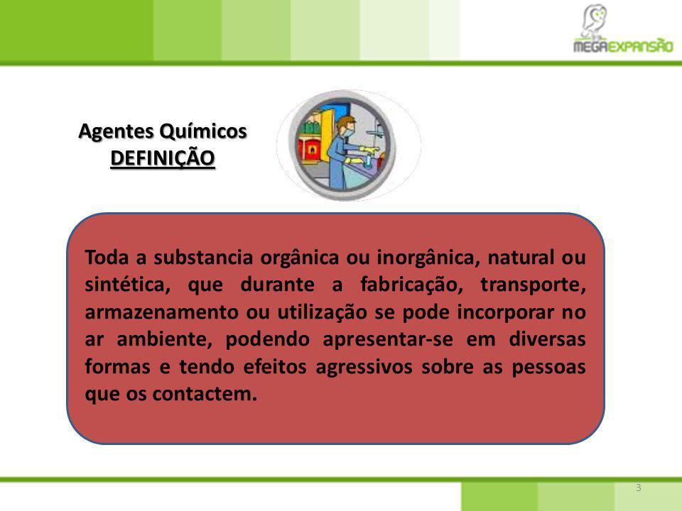 3 Agentes Químicos DEFINIÇÃO Toda a substancia orgânica ou inorgânica, natural ou sintética, que durante a fabricação, transporte, armazenamento ou ut