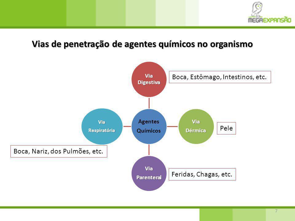 7 Vias de penetração de agentes químicos no organismo Agentes Químicos Via Digestiva ViaDérmica ViaParenteral ViaRespiratória Boca, Estômago, Intestinos, etc.