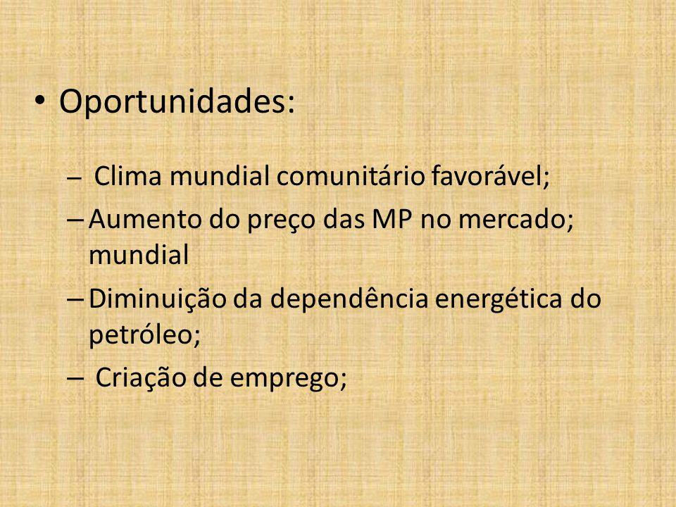 Oportunidades: – Clima mundial comunitário favorável; – Aumento do preço das MP no mercado; mundial – Diminuição da dependência energética do petróleo