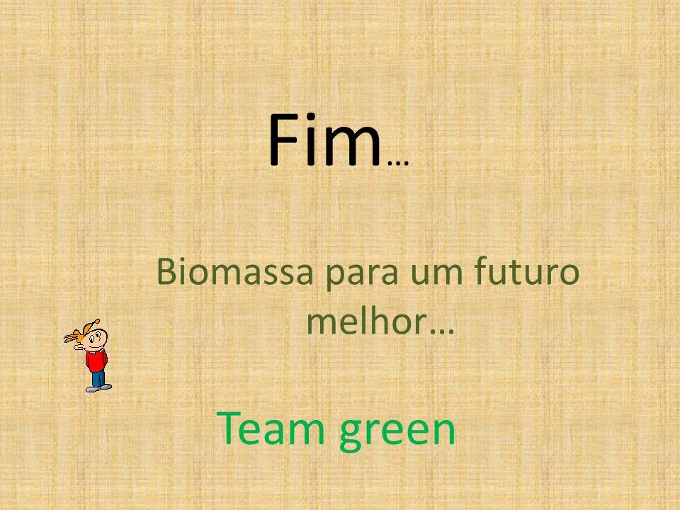 Fim … Biomassa para um futuro melhor… Team green