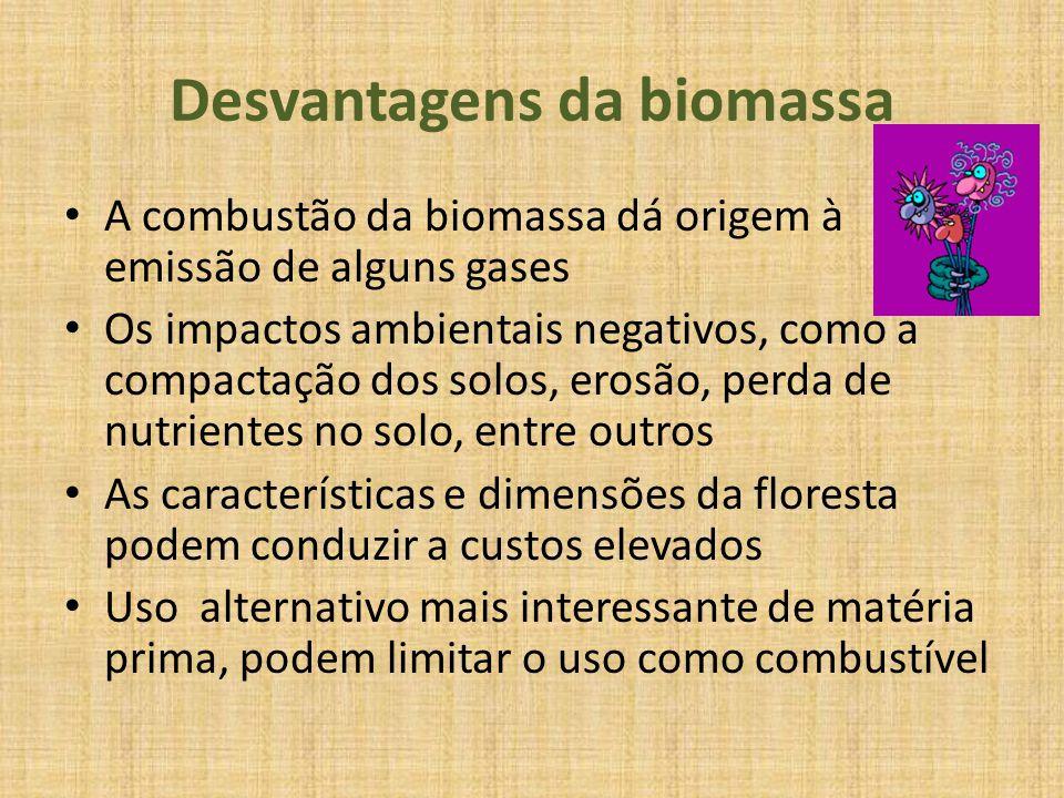 Desvantagens da biomassa A combustão da biomassa dá origem à emissão de alguns gases Os impactos ambientais negativos, como a compactação dos solos, e