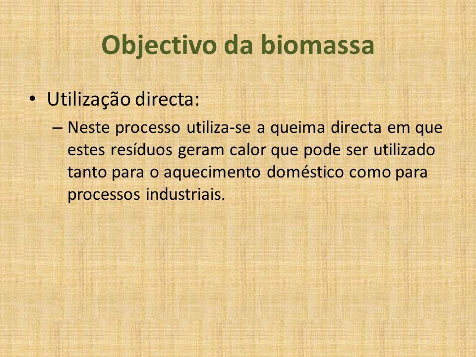 Objectivo da biomassa Utilização directa: – Neste processo utiliza-se a queima directa em que estes resíduos geram calor que pode ser utilizado tanto