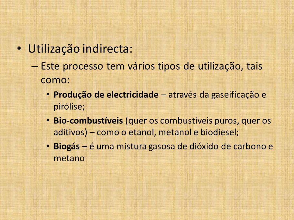 Utilização indirecta: – Este processo tem vários tipos de utilização, tais como: Produção de electricidade – através da gaseificação e pirólise; Bio-c