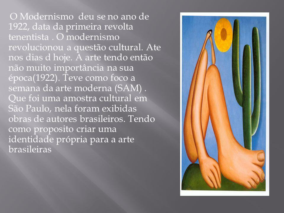 O Modernismo deu se no ano de 1922, data da primeira revolta tenentista. O modernismo revolucionou a questão cultural. Ate nos dias d hoje. A arte ten