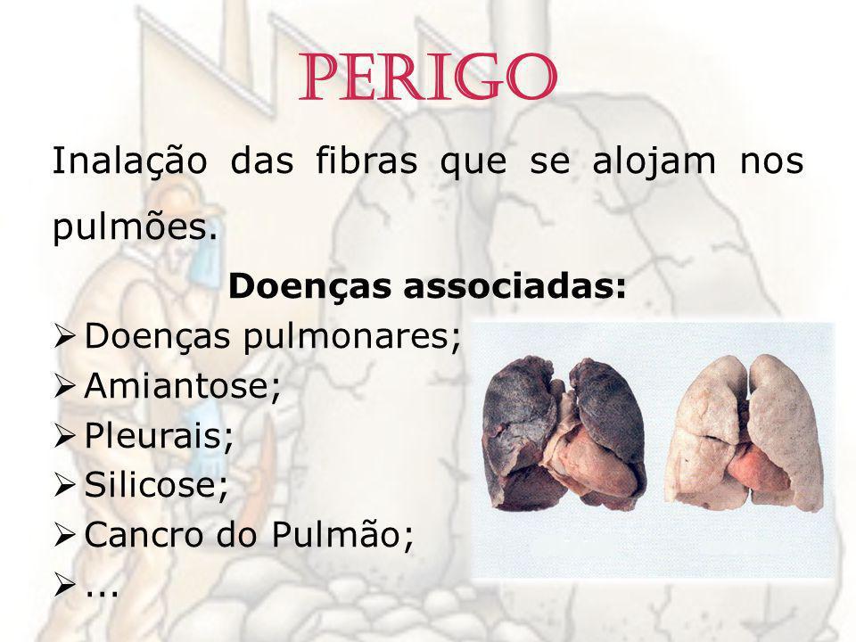 Perigo Inalação das fibras que se alojam nos pulmões. Doenças associadas: Doenças pulmonares; Amiantose; Pleurais; Silicose; Cancro do Pulmão;...