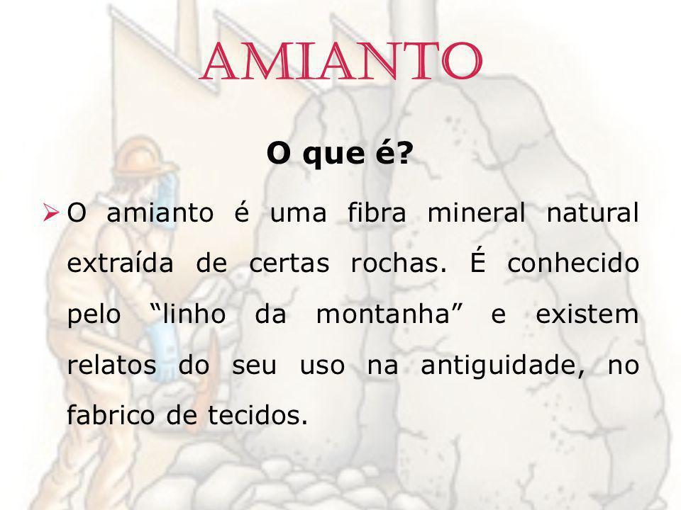 Amianto O que é? O amianto é uma fibra mineral natural extraída de certas rochas. É conhecido pelo linho da montanha e existem relatos do seu uso na a