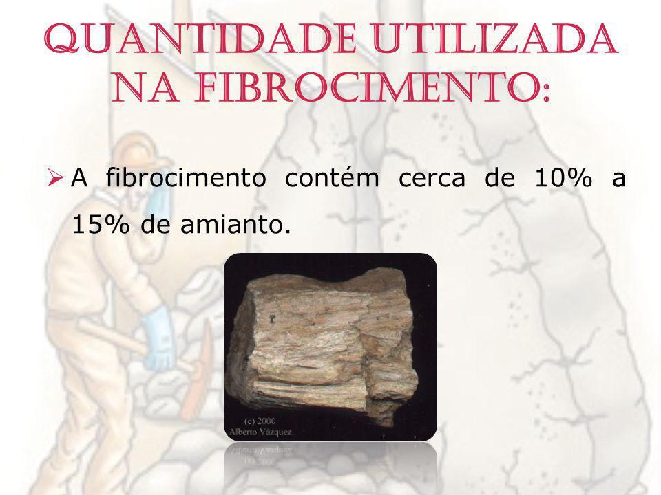 Quantidade utilizada na fibrocimento: A fibrocimento contém cerca de 10% a 15% de amianto.