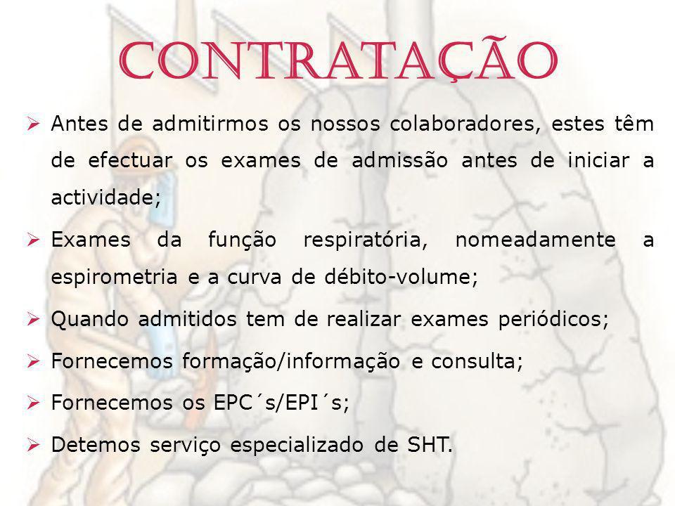 Contratação Antes de admitirmos os nossos colaboradores, estes têm de efectuar os exames de admissão antes de iniciar a actividade; Exames da função r