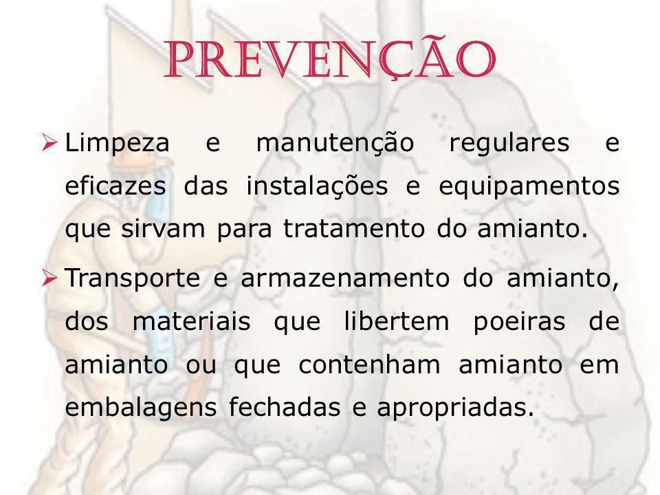 Prevenção Limpeza e manutenção regulares e eficazes das instalações e equipamentos que sirvam para tratamento do amianto. Transporte e armazenamento d