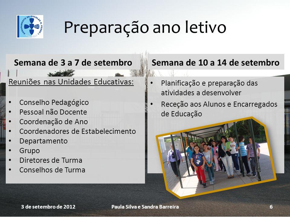Preparação ano letivo Semana de 3 a 7 de setembro Reuniões nas Unidades Educativas: Conselho Pedagógico Pessoal não Docente Coordenação de Ano Coorden